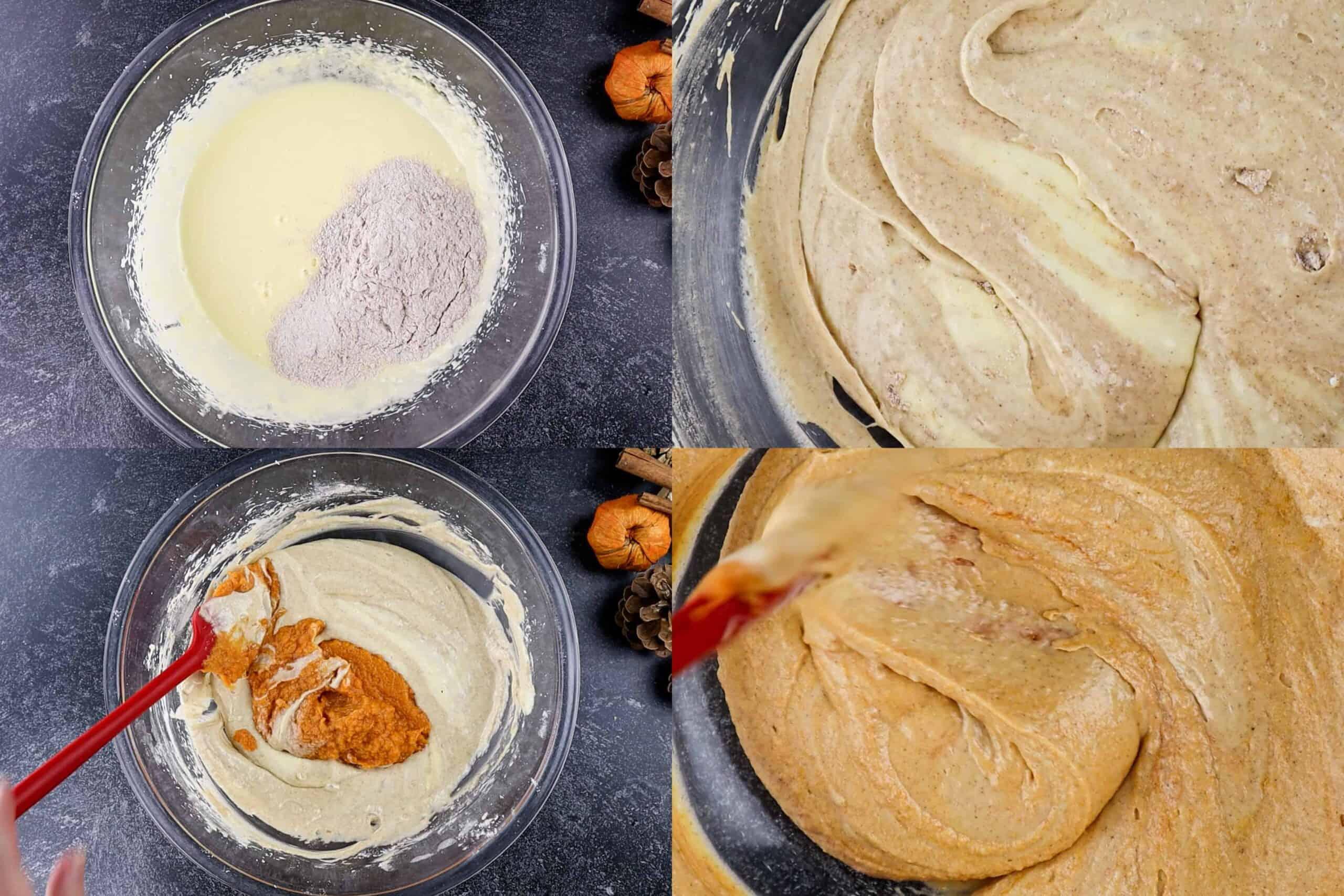 pumpkin cupcake batter folding the batter process shots