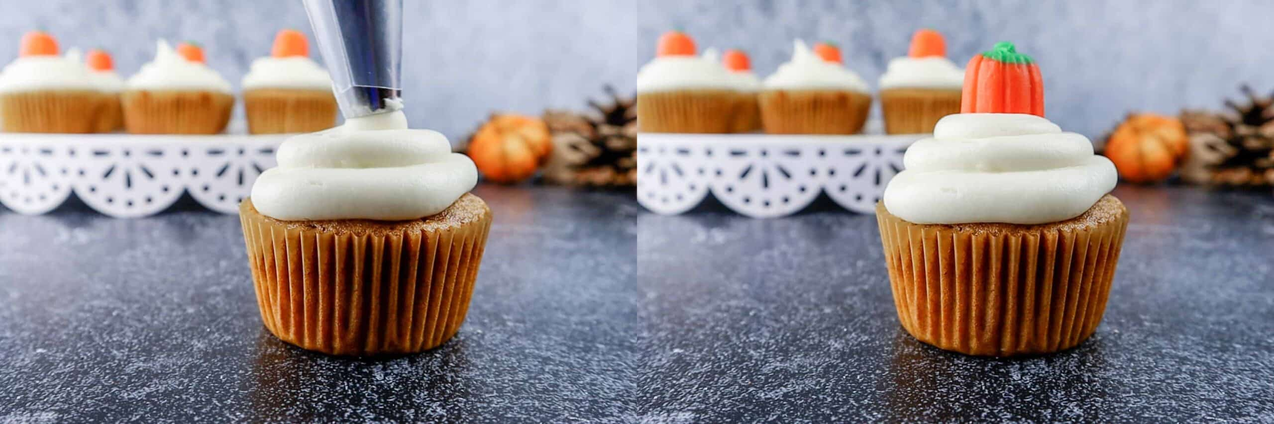 how to frost pumpkin cupcakes with cream cheese frosting
