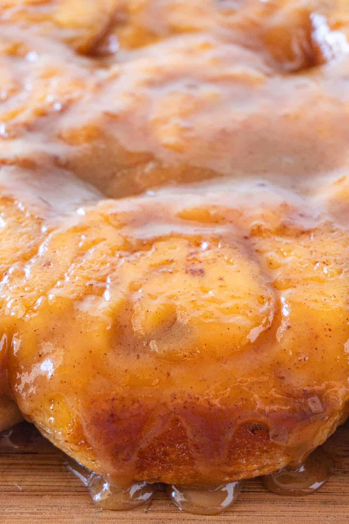 close up of sticky bun