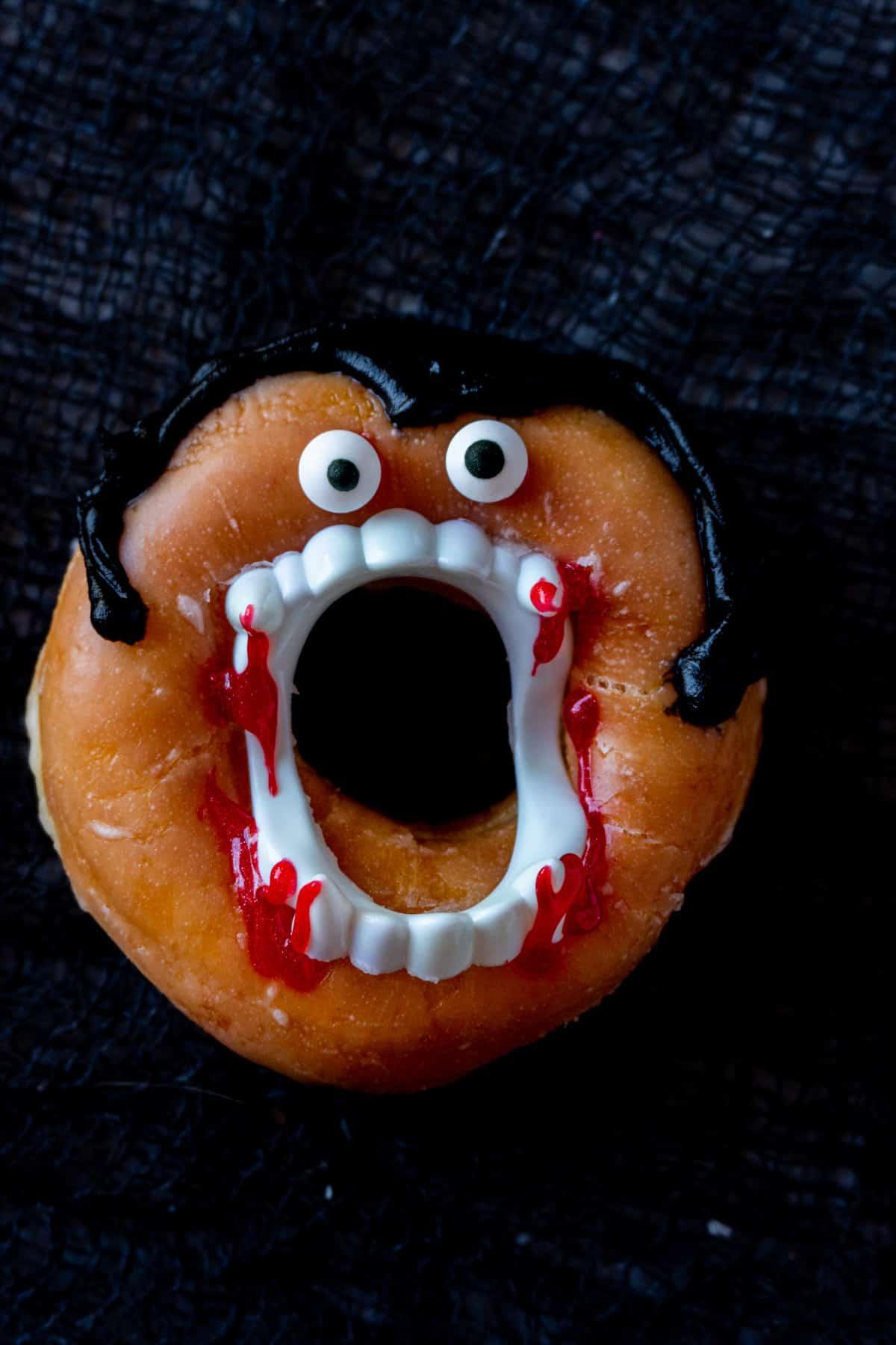 close up of dracula donut
