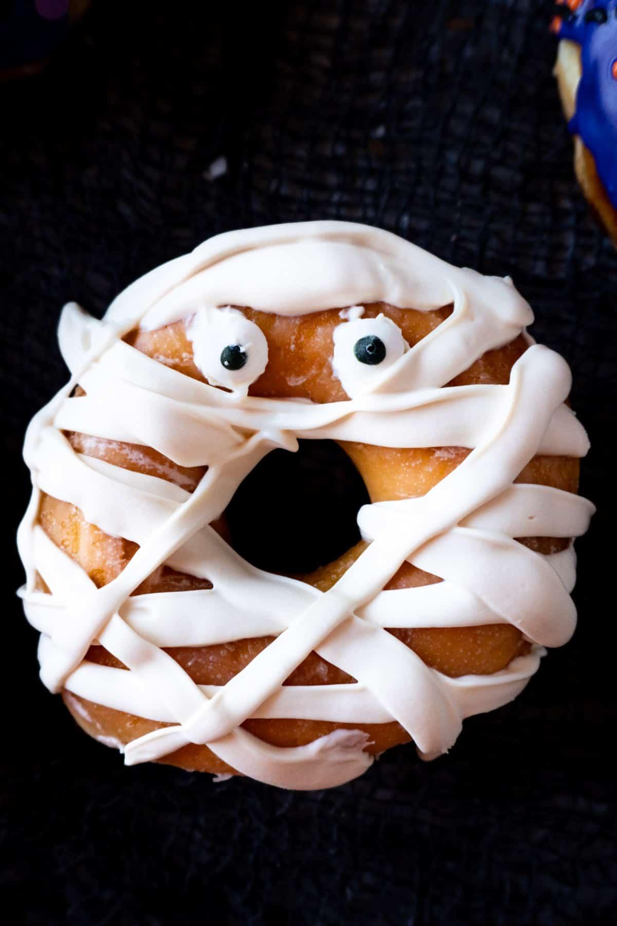 close up of mummy donut