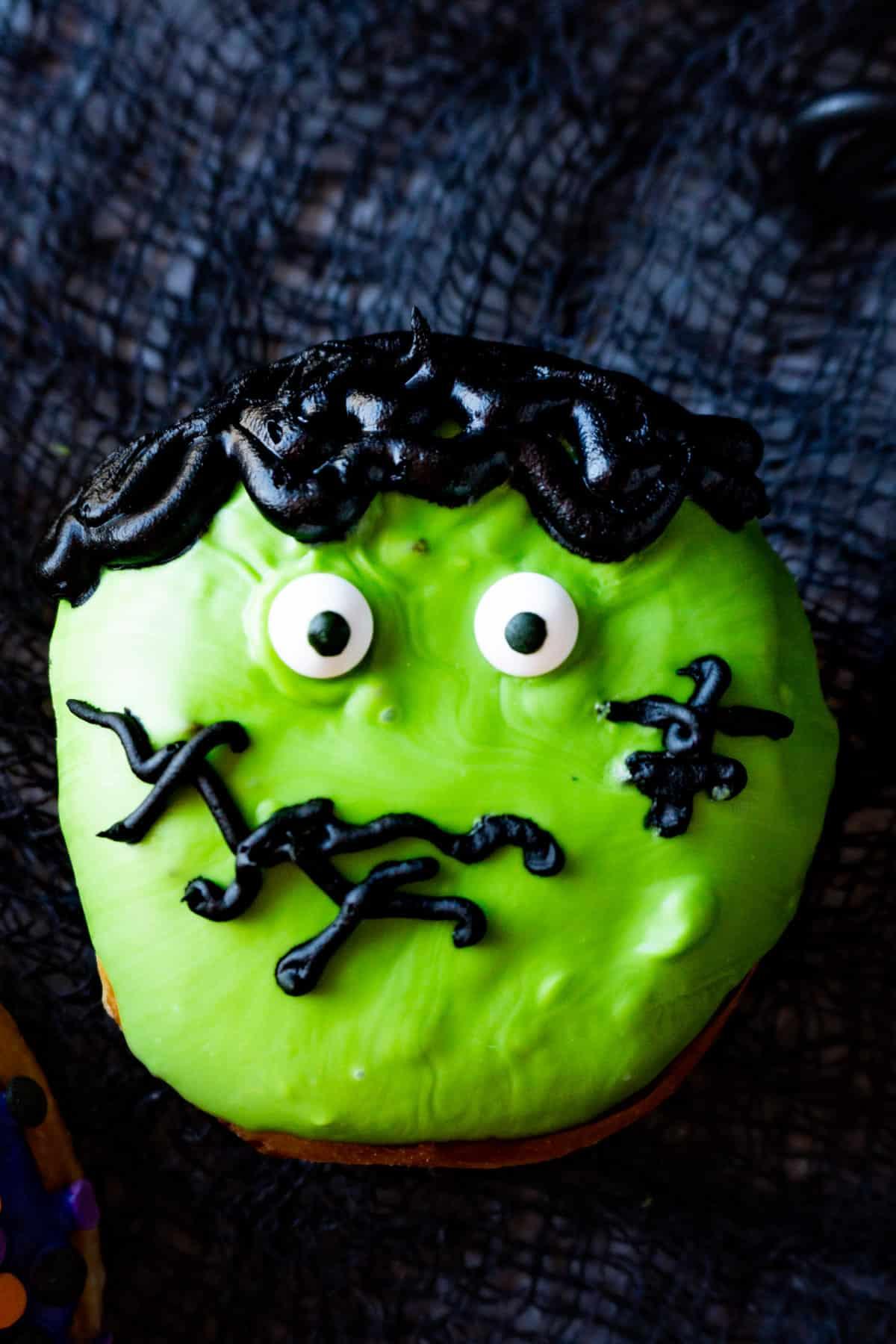 close up of frankenstein donut