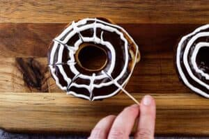 making spider web for spider web donuts