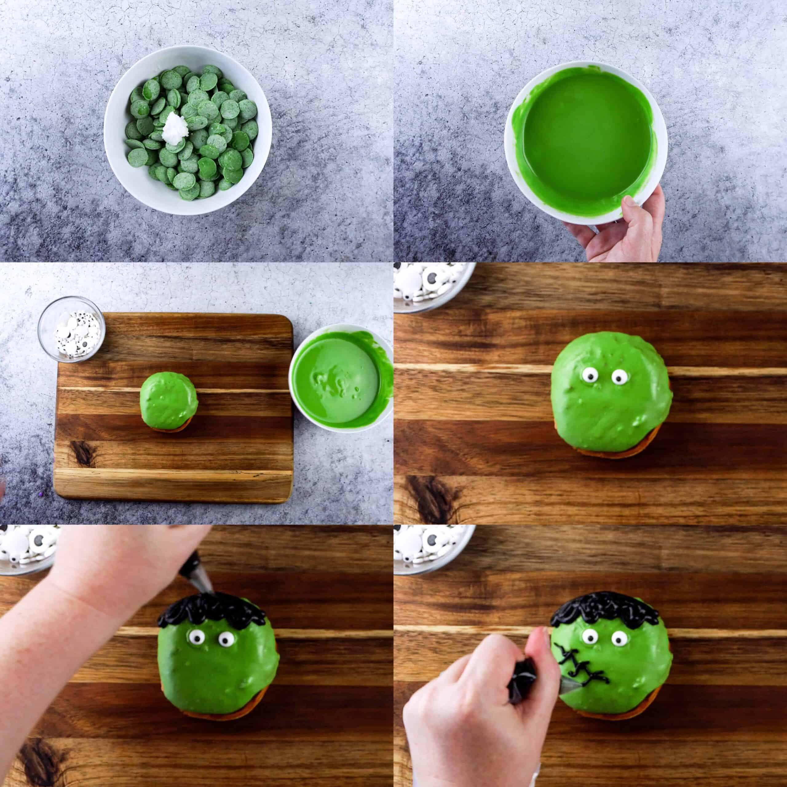 Frankenstein donut decorating process shots