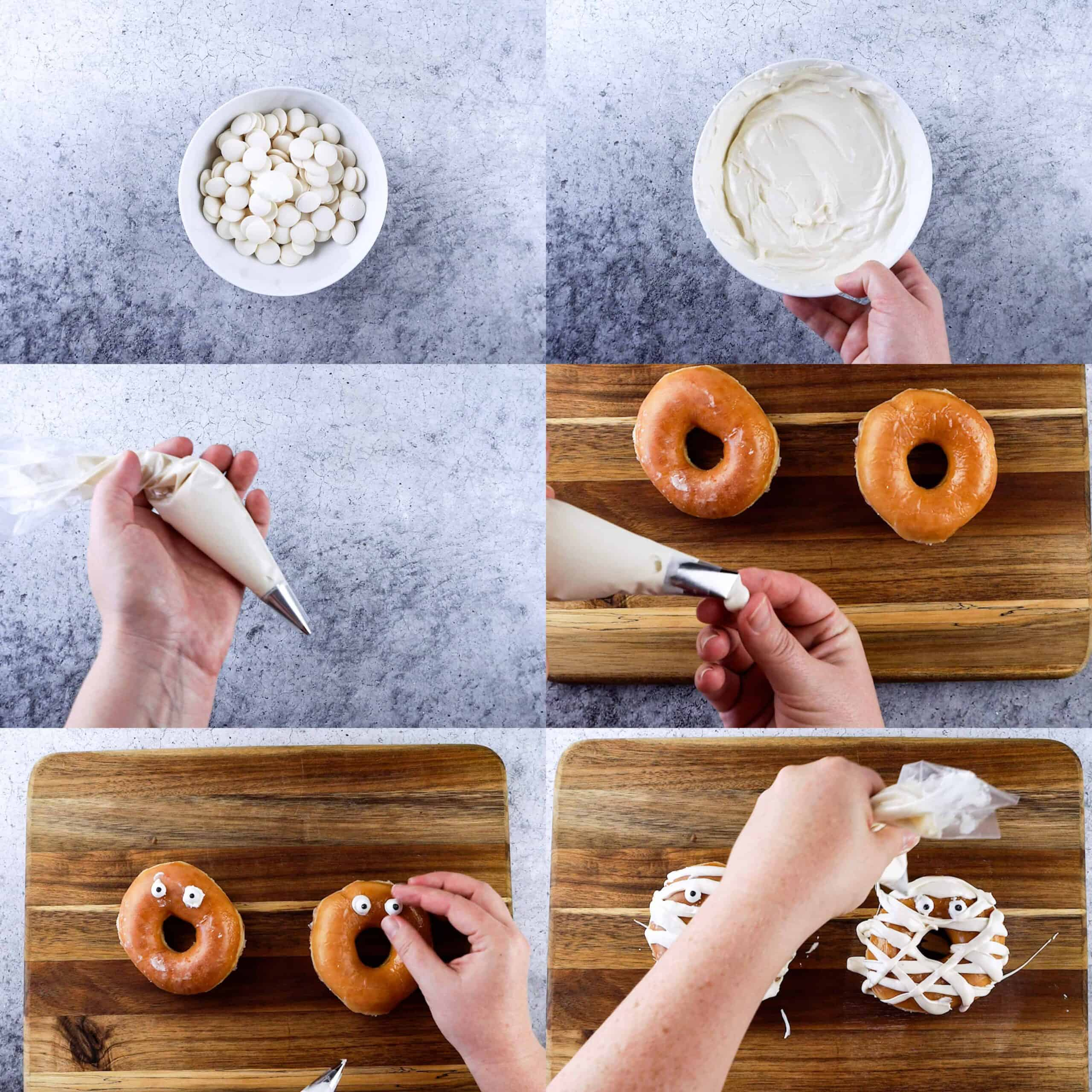 process shots for making mummy donuts