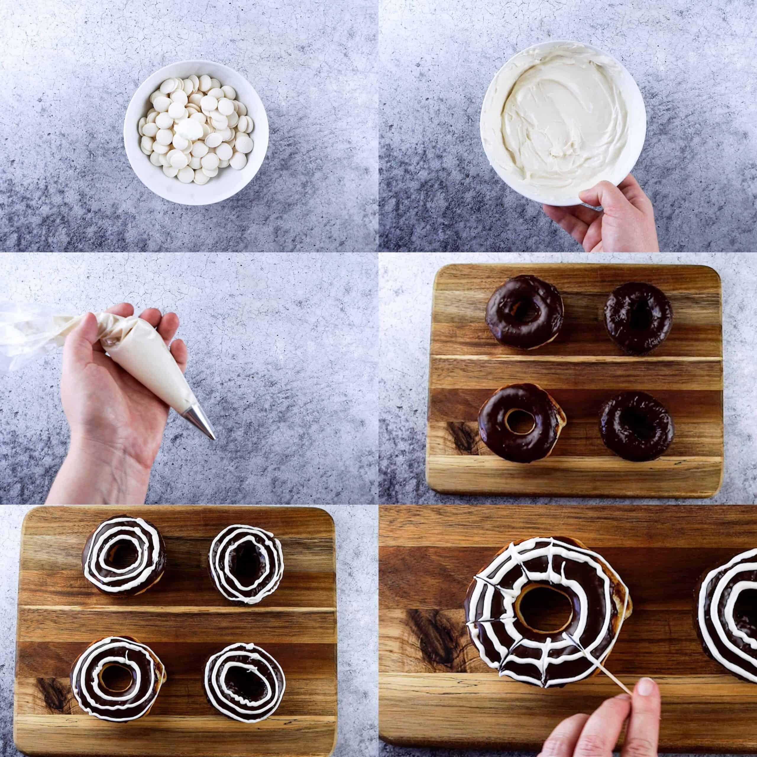 Spider web donuts decorating process shots