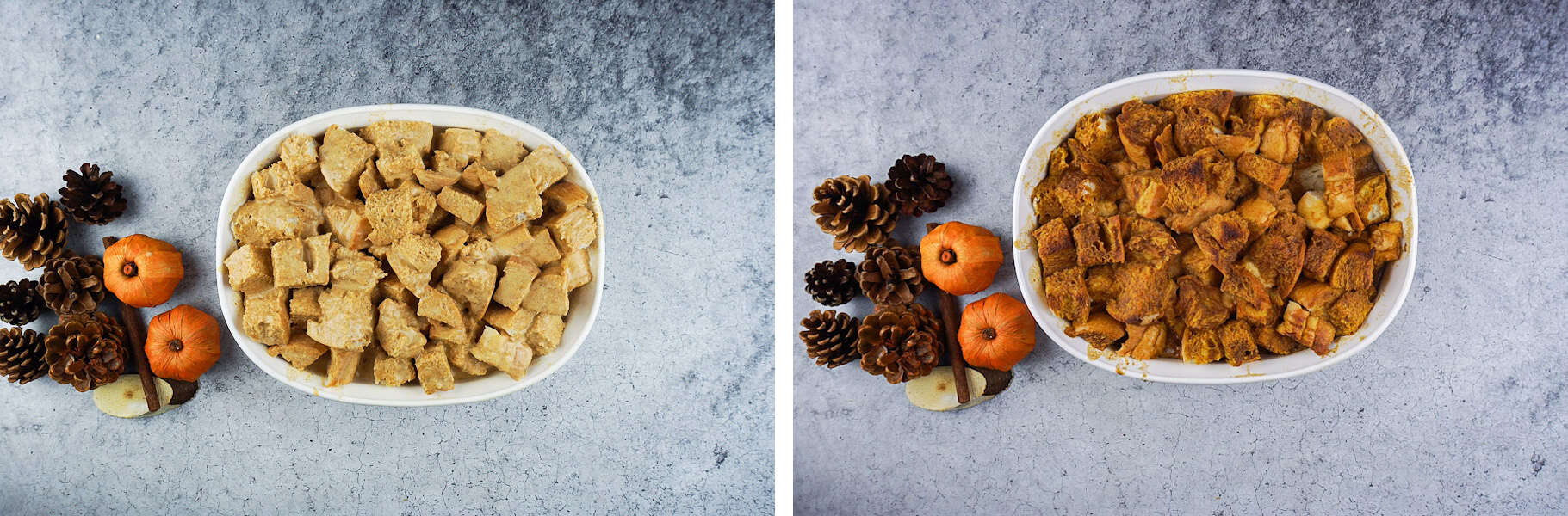 Pumpkin Bread Pudding Before and After baking