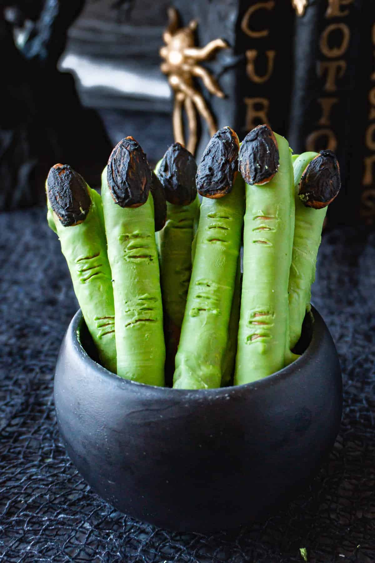 witches fingers in a black bowl
