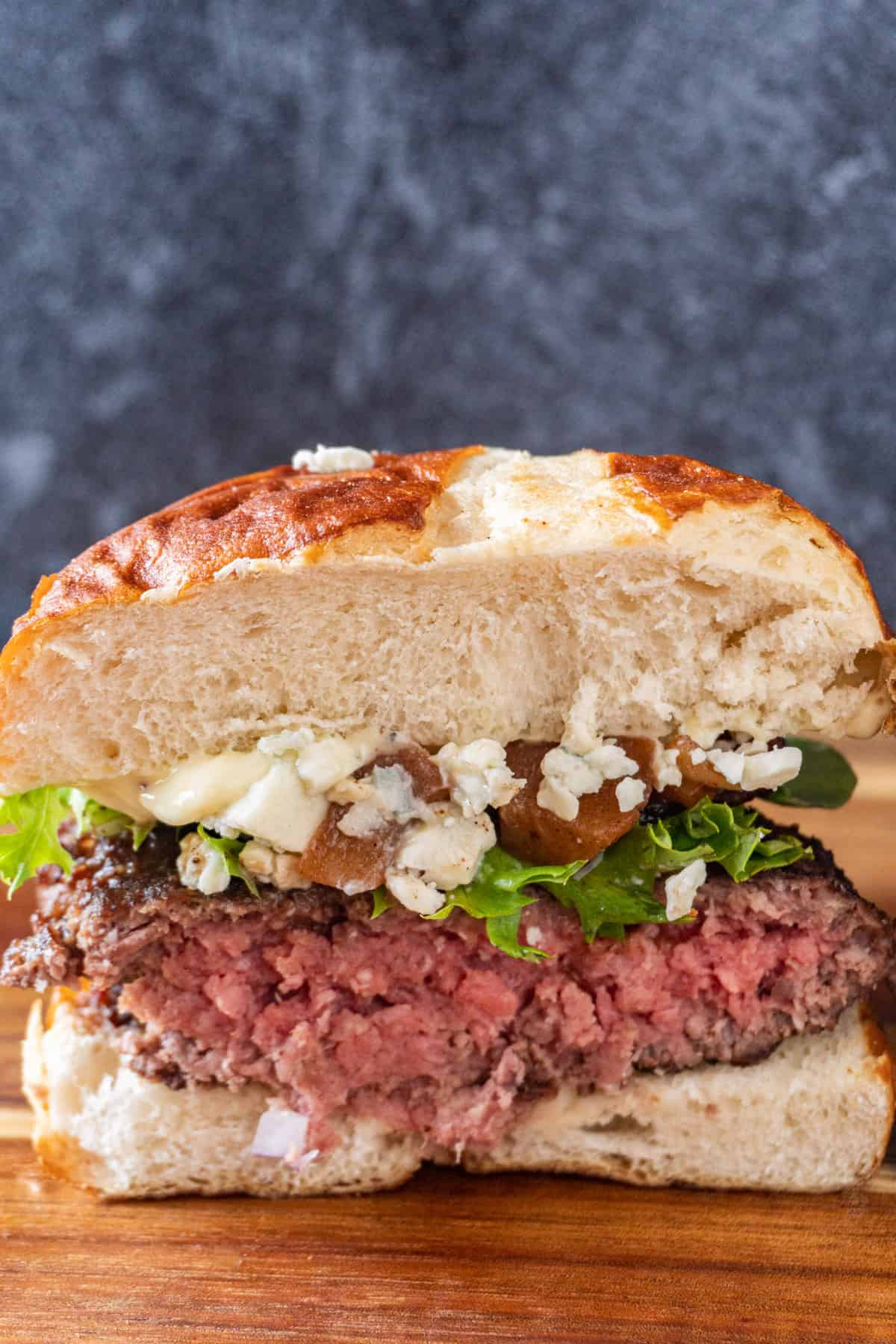 blue cheese burger cut in half