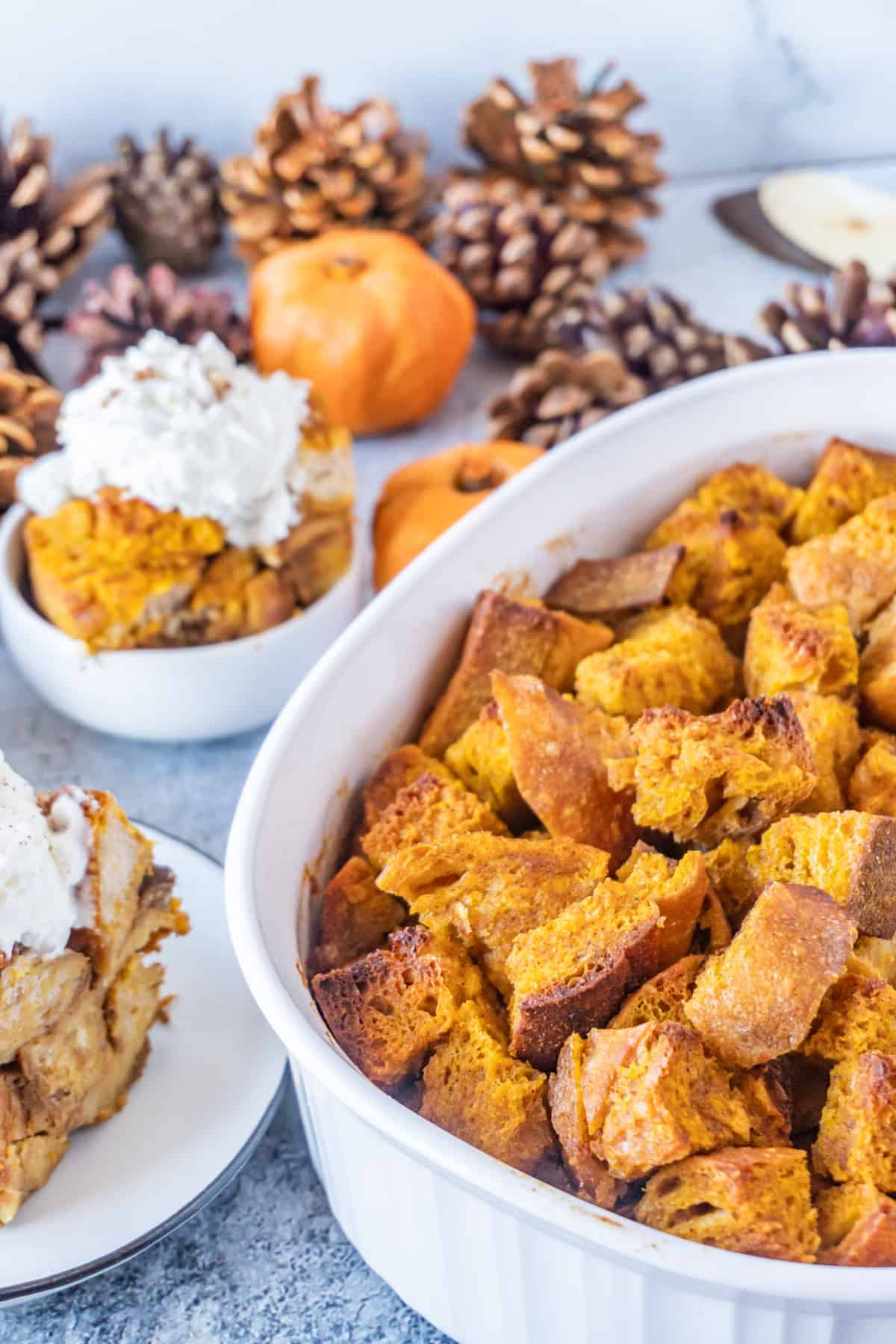 Pumpkin Bread pudding in dish- baked