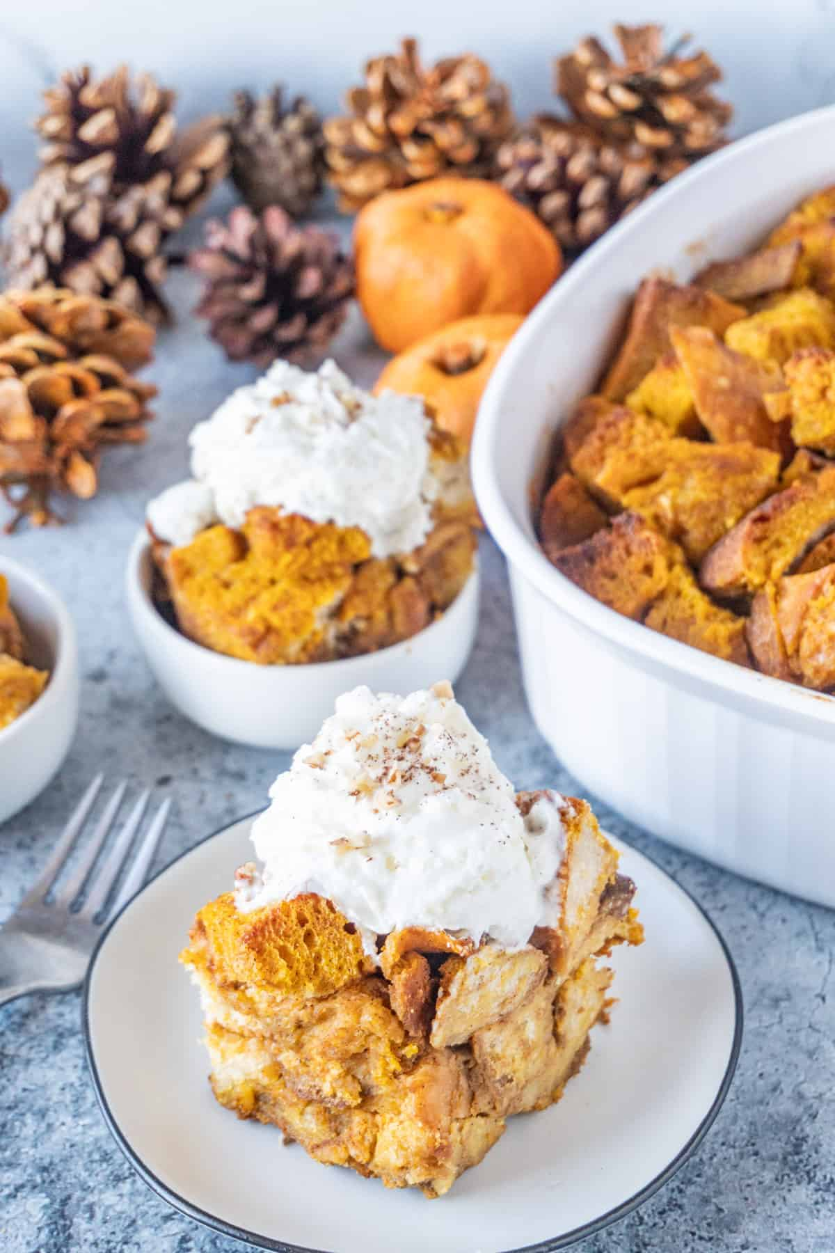 Pumpkin Bread Pudding on a plate