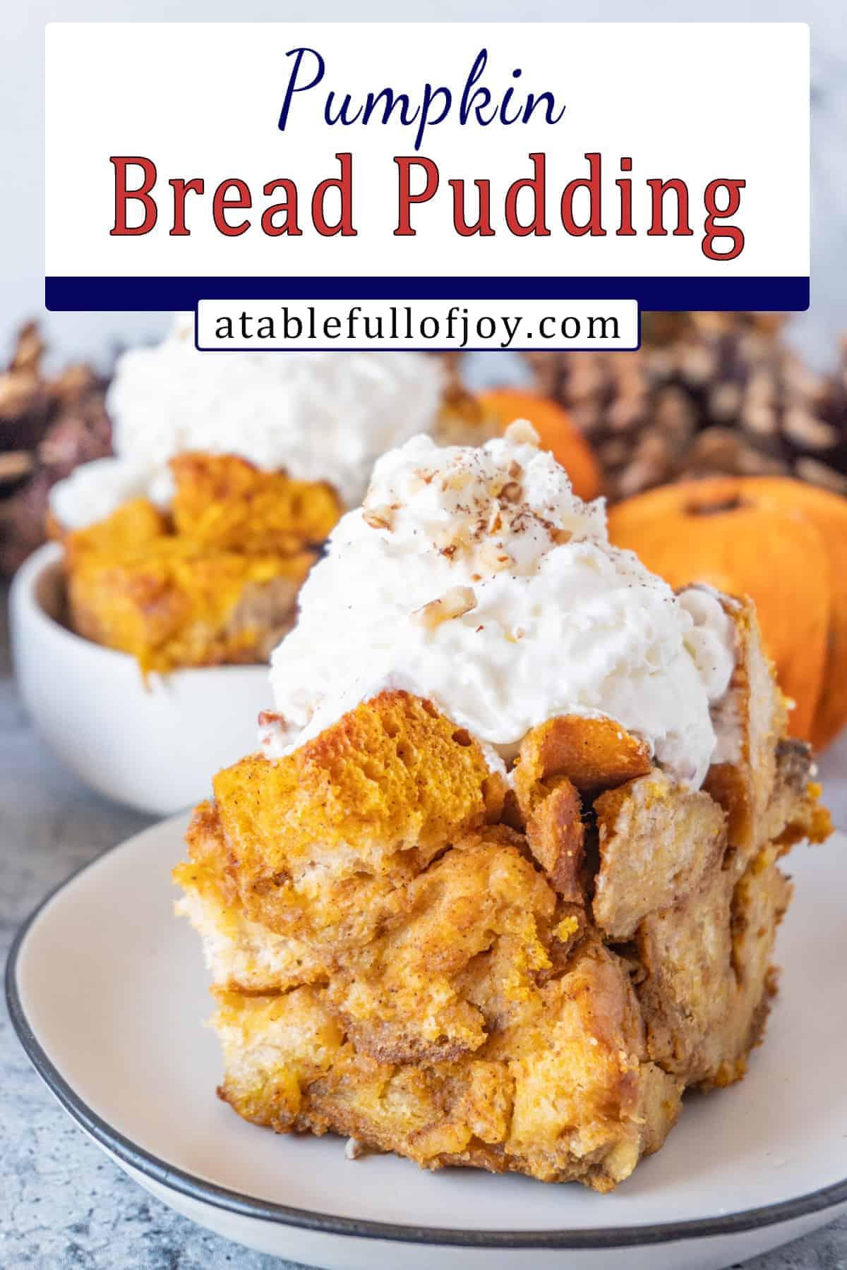 Pumpkin bread pudding pinterest pin