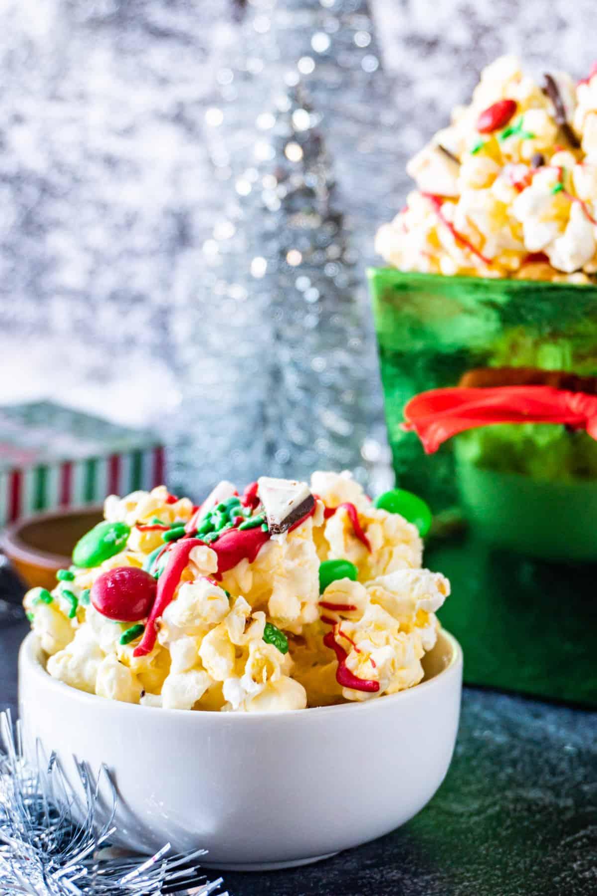 Christmas popcorn in bowl