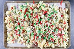 popcorn drizzled with candy melts and candy