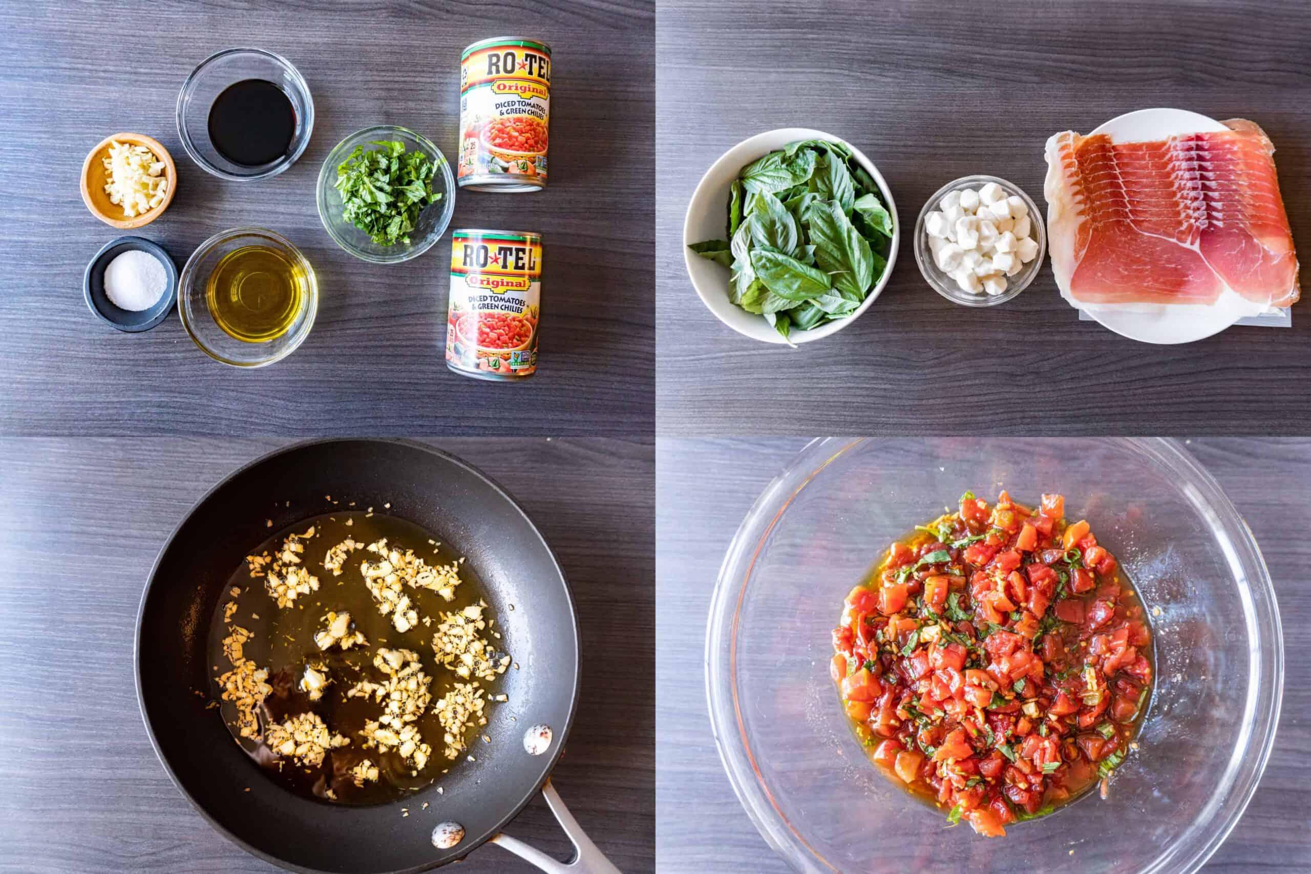 bruschetta ingredients and making it process shots