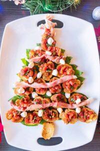 christmas tree appetizer on white platter