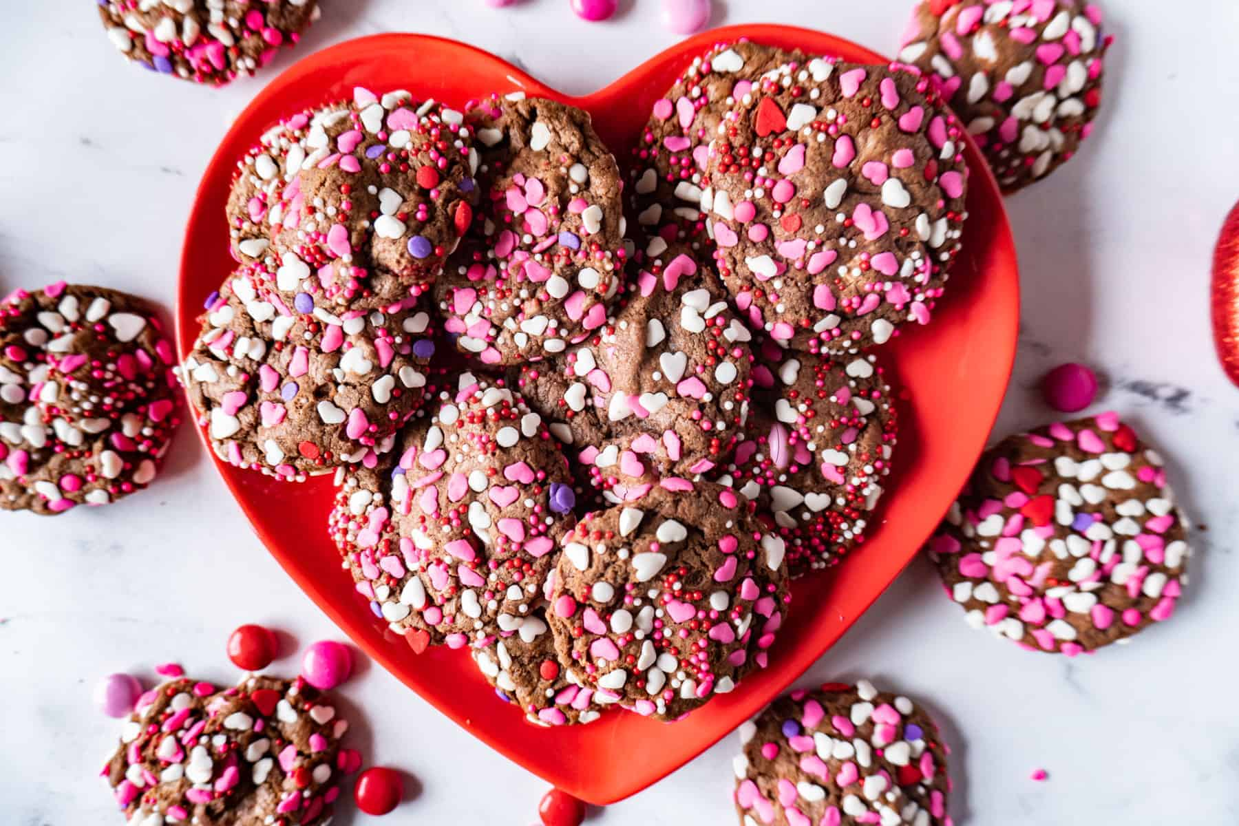 easy valentine cookies on a heart plate