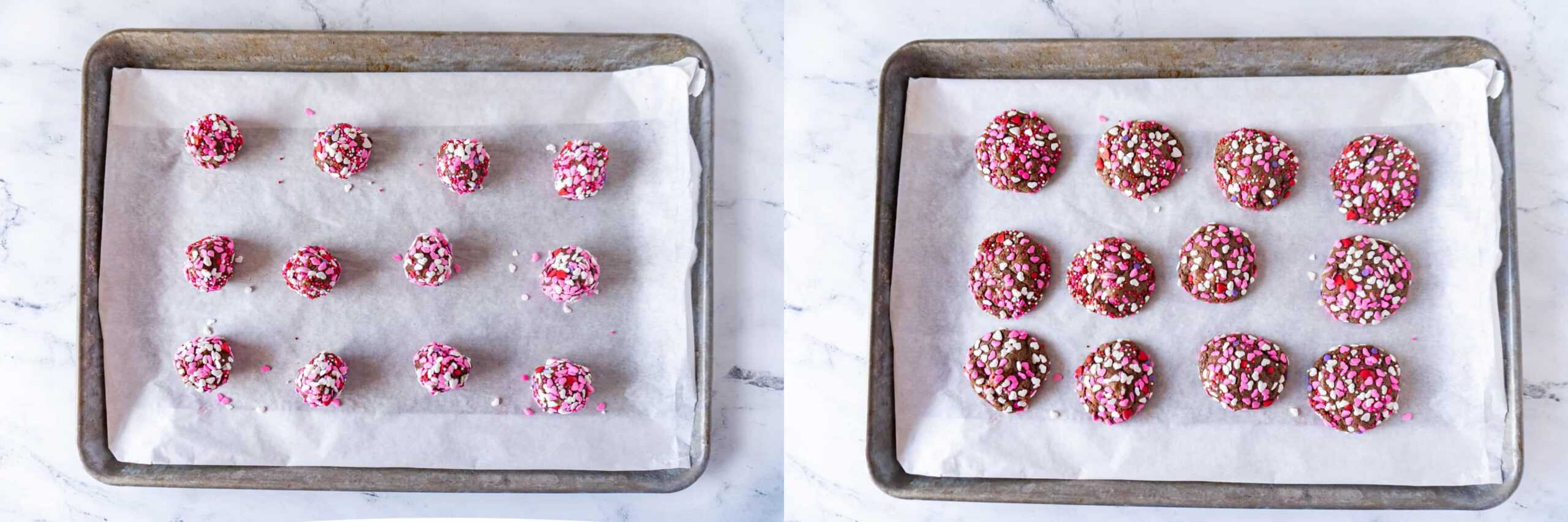 before and after baking easy valentine cookies