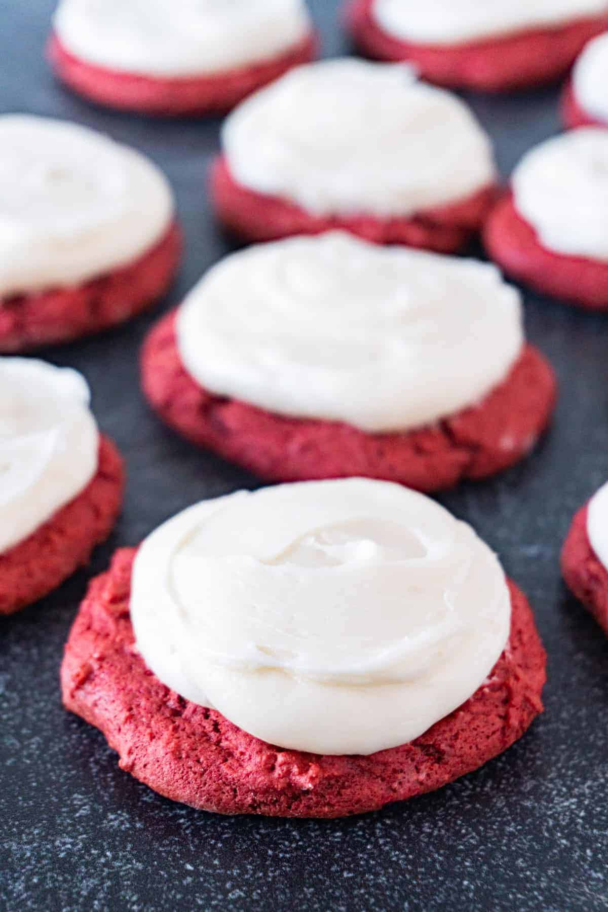 red velvet cake cookies close up