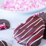 Chocolate Cherry Heart Cookies Red and White Striped Heat Cookie