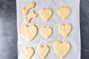 heart sugar cookies baked