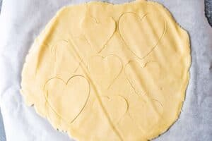 heart shapes cut out of the dough