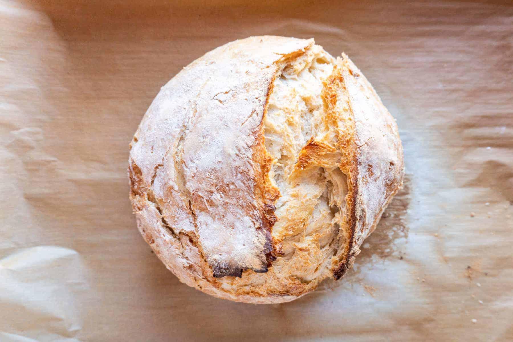 bread baked on baking sheet