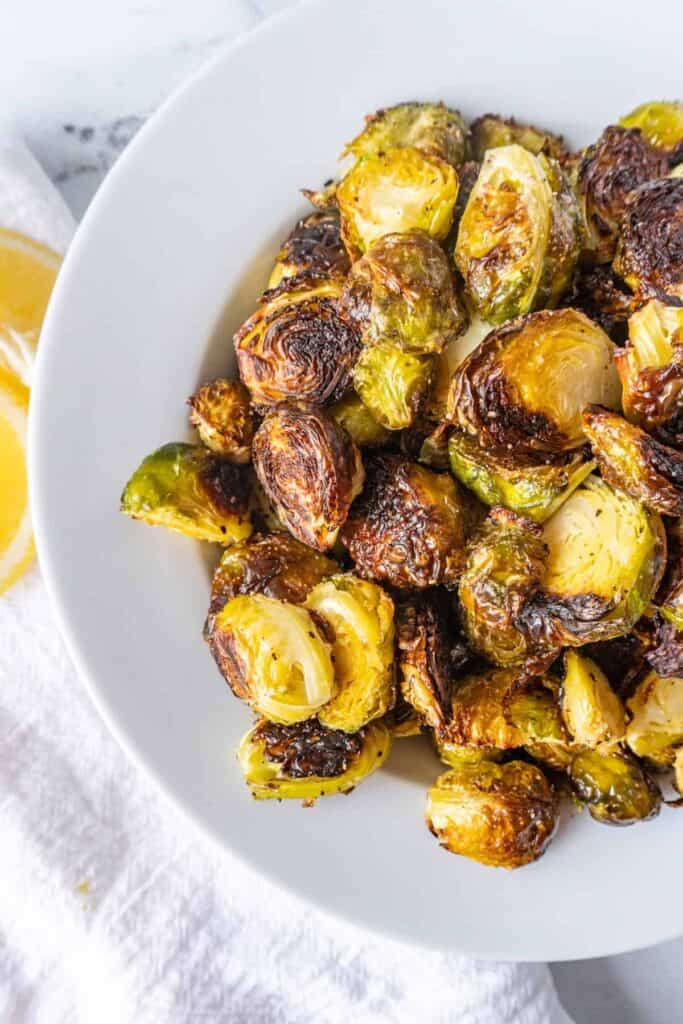 Oven Roasted Brussel Sprouts In a bowl