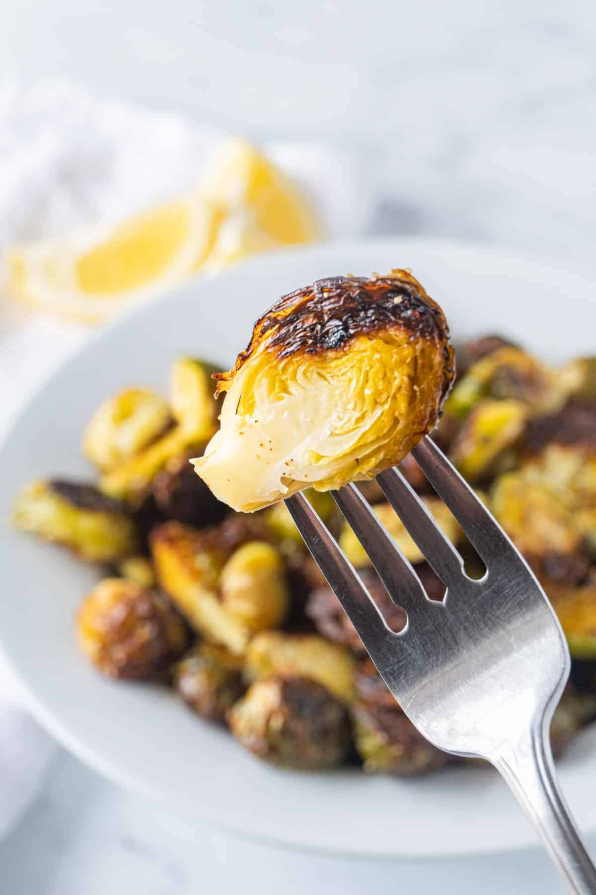 Roasted Brussel Sprout on a fork