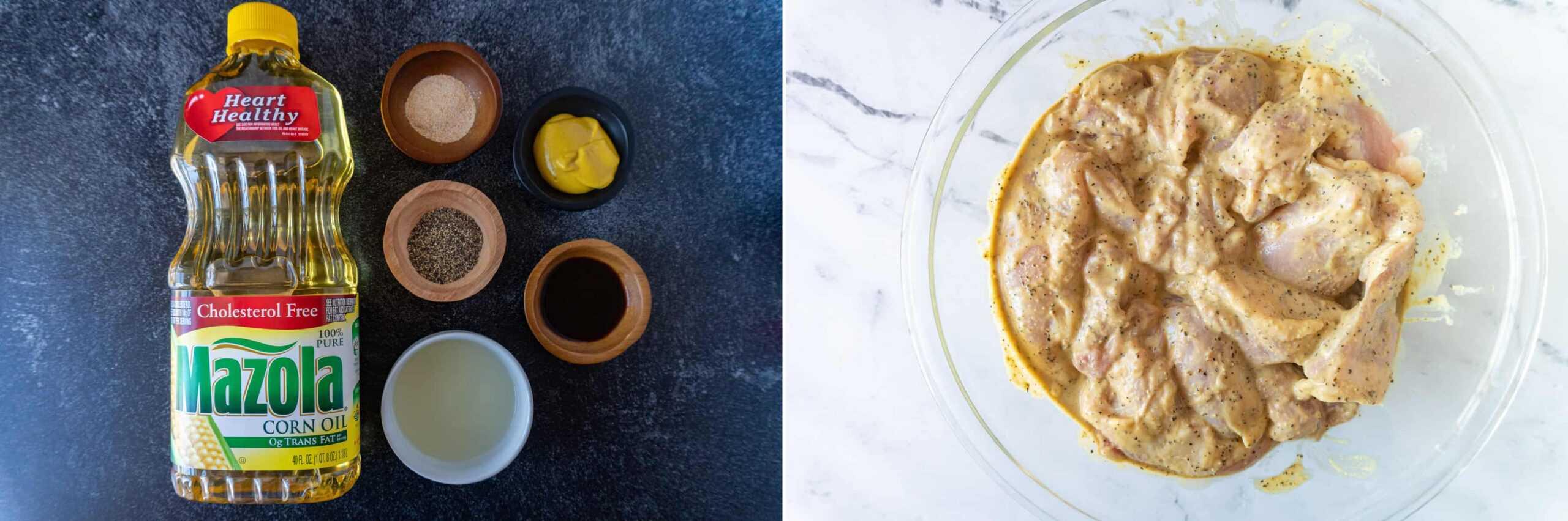 Marinade ingrediants and chicken in marinade