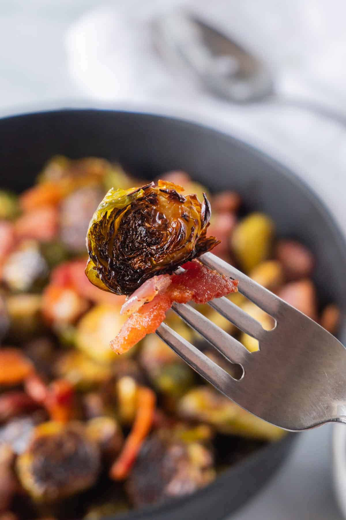 Brussel Sprout, shallot and bacon on a fork
