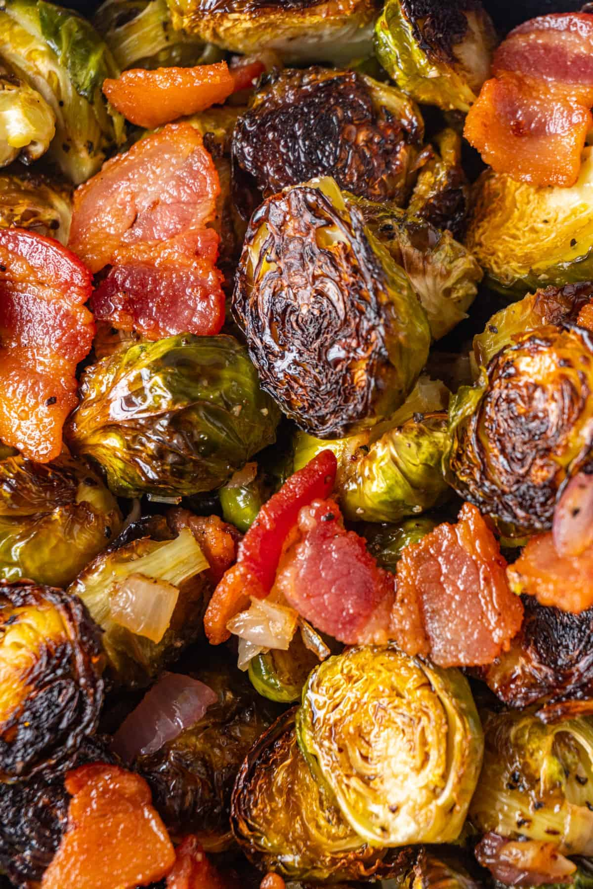 Close up of Maple Bacon Brussel Sprouts
