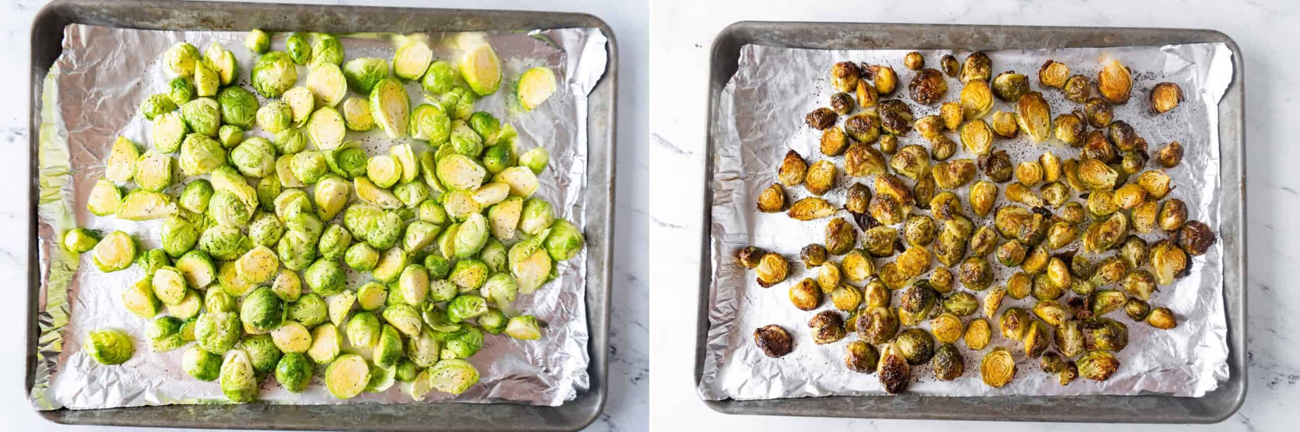 Before and after baking brussel sprouts