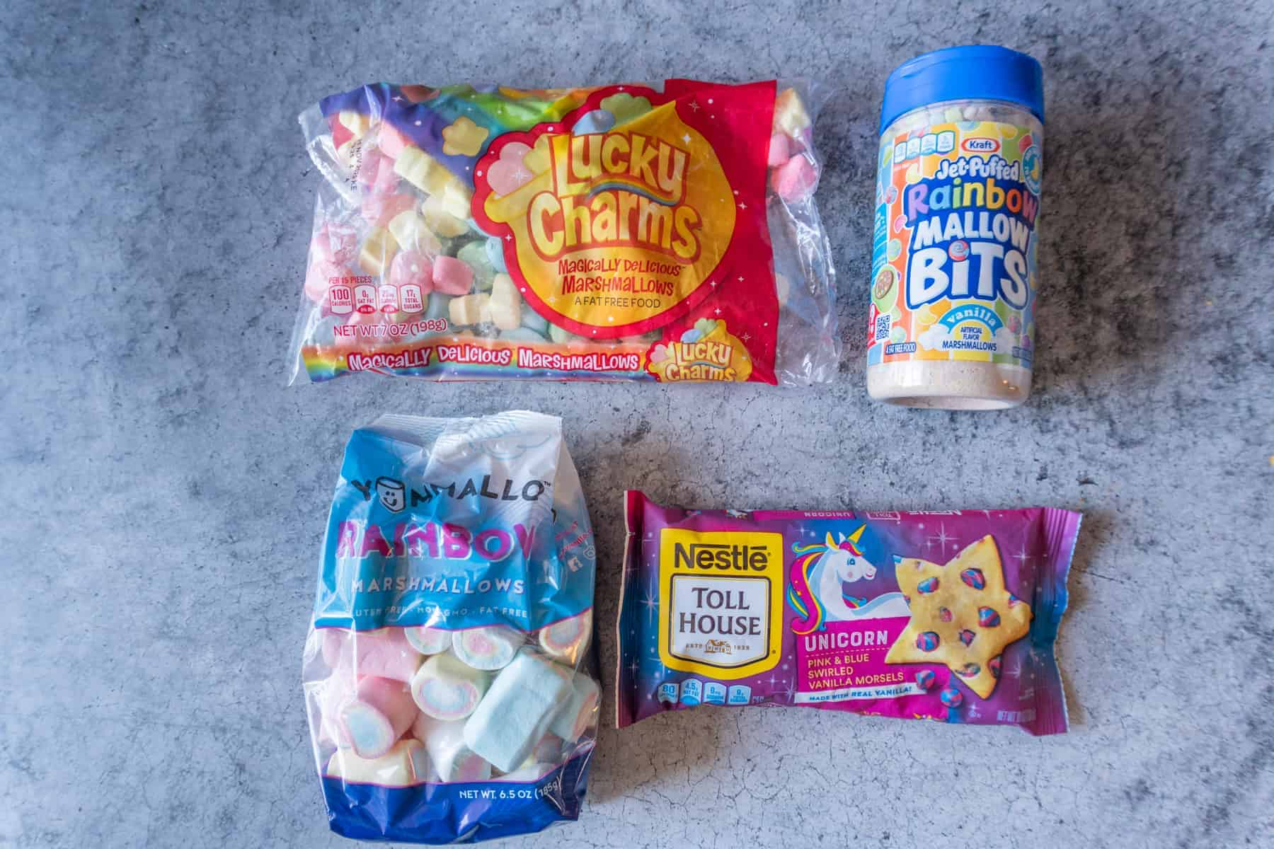 Lucky Charms Marshmallow Bits, Lucky Charms Large Marshmallows, Rainbow Marshmallows, Unicorn Chips