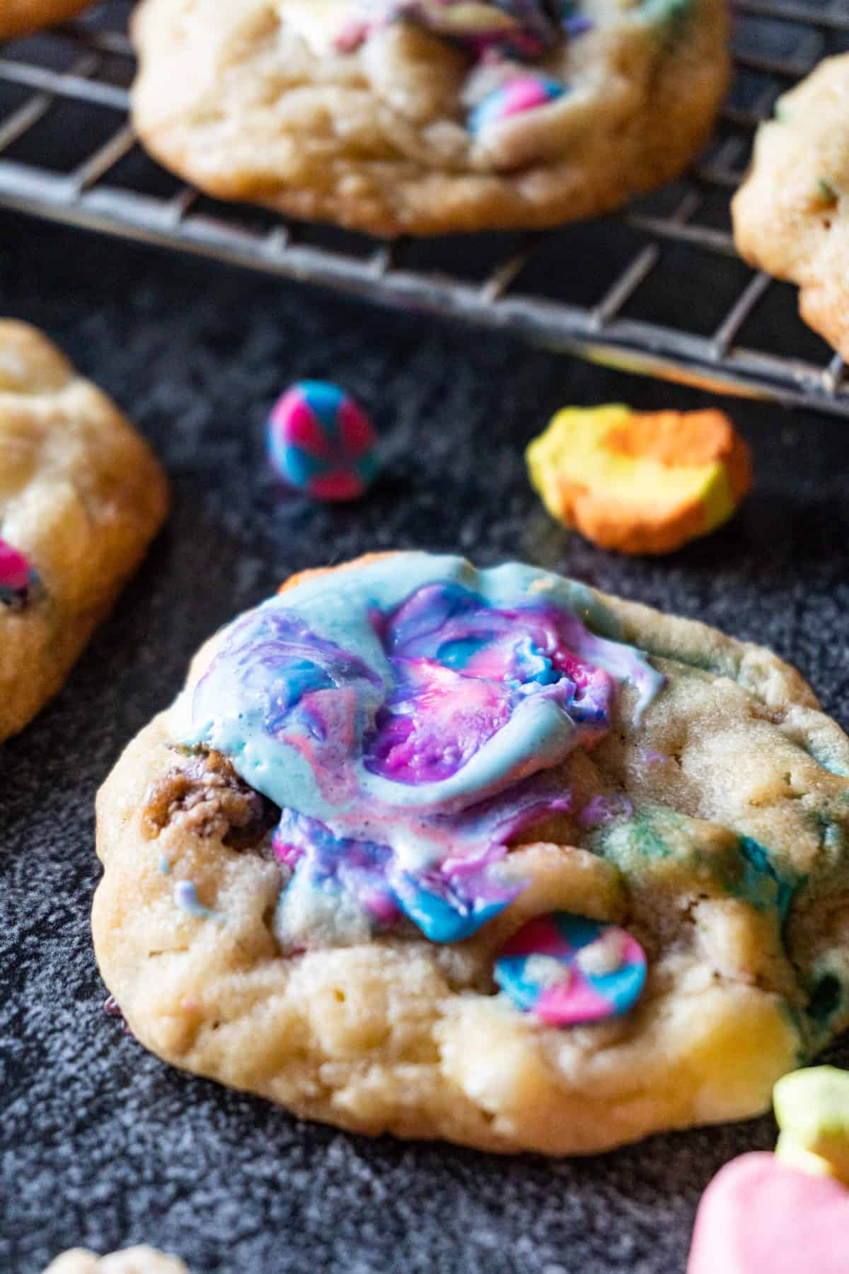 Lucky Charms Cookies with purple marshmallow melted on top