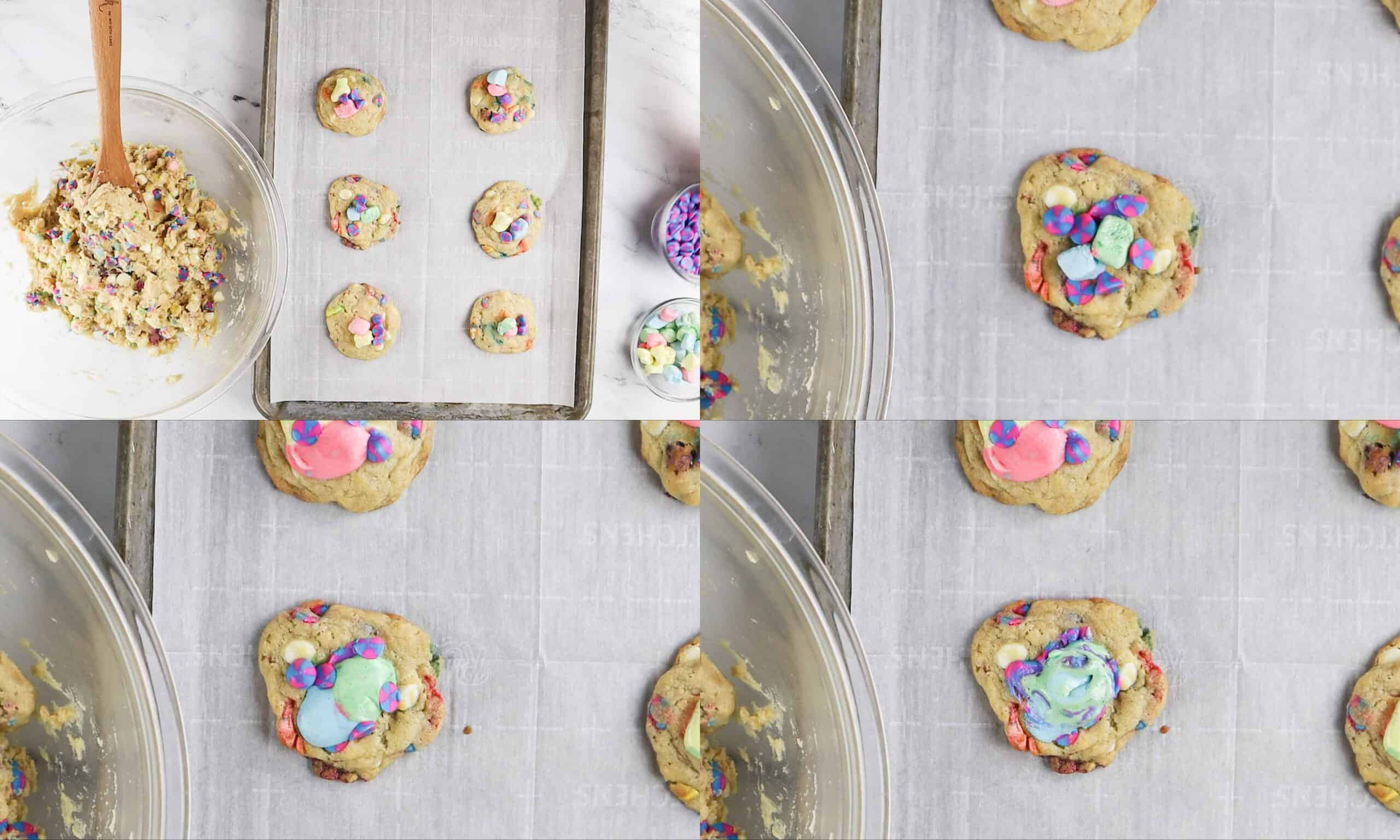 Lucky Charms Cookies how to melt marshmallows on top