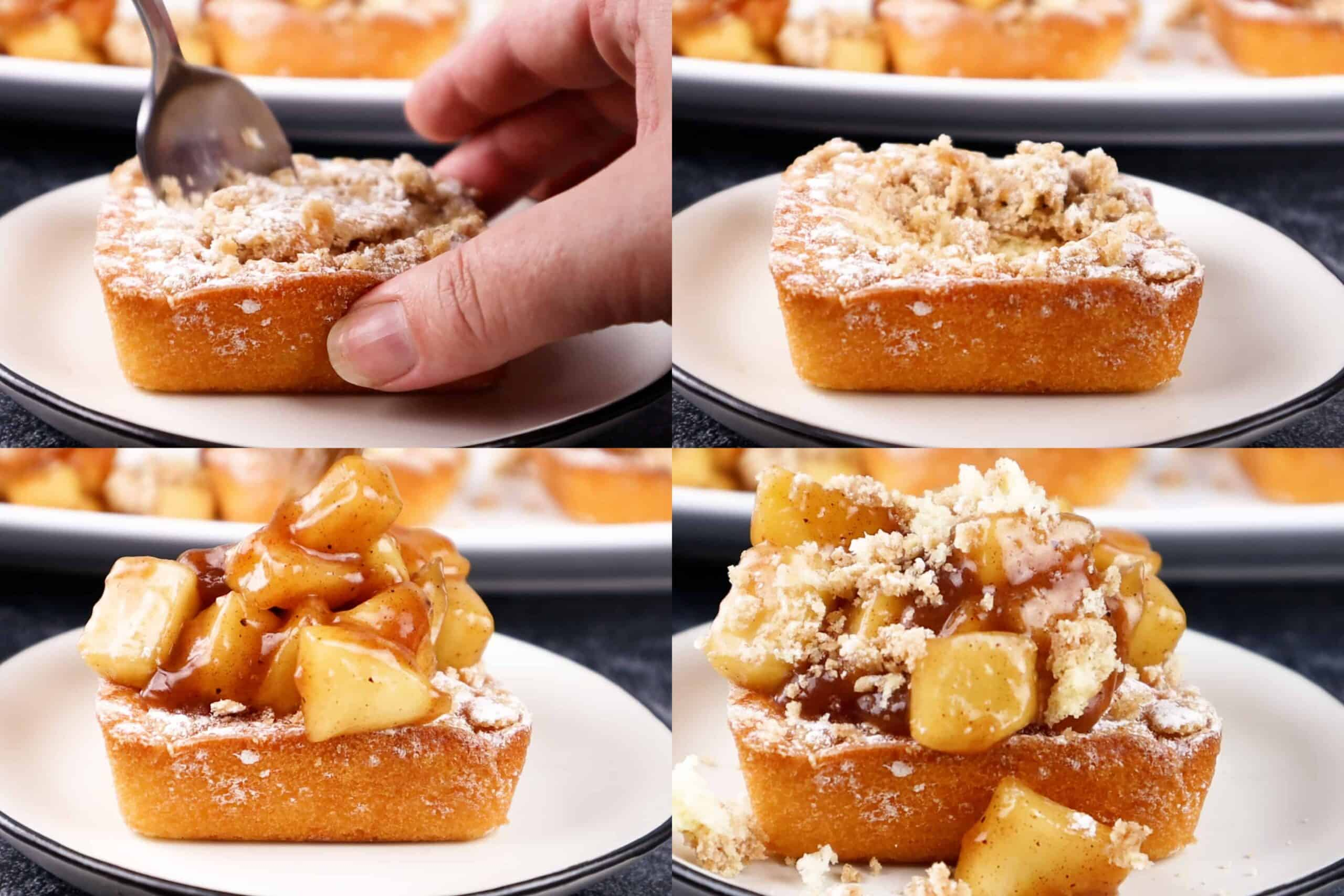 cut the top of the crumb cakes and top with apple mixture