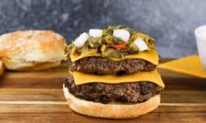 Burger being assembled