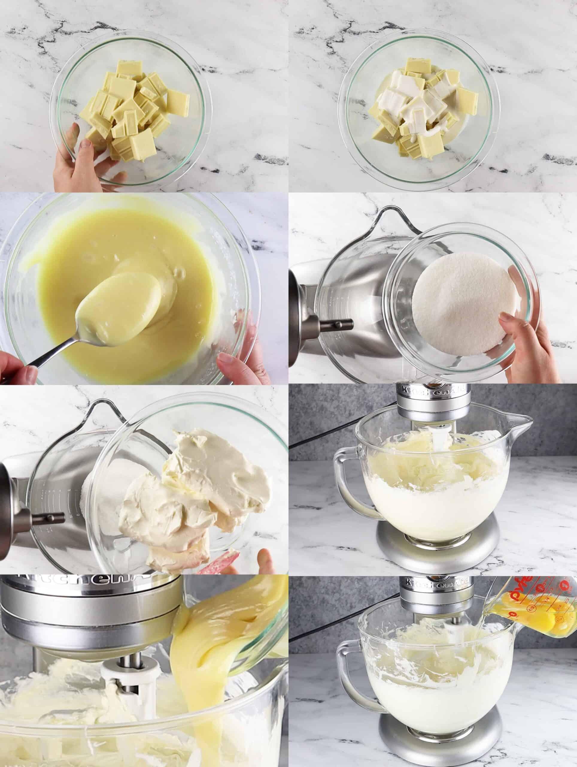 Cheesecake batter process shots