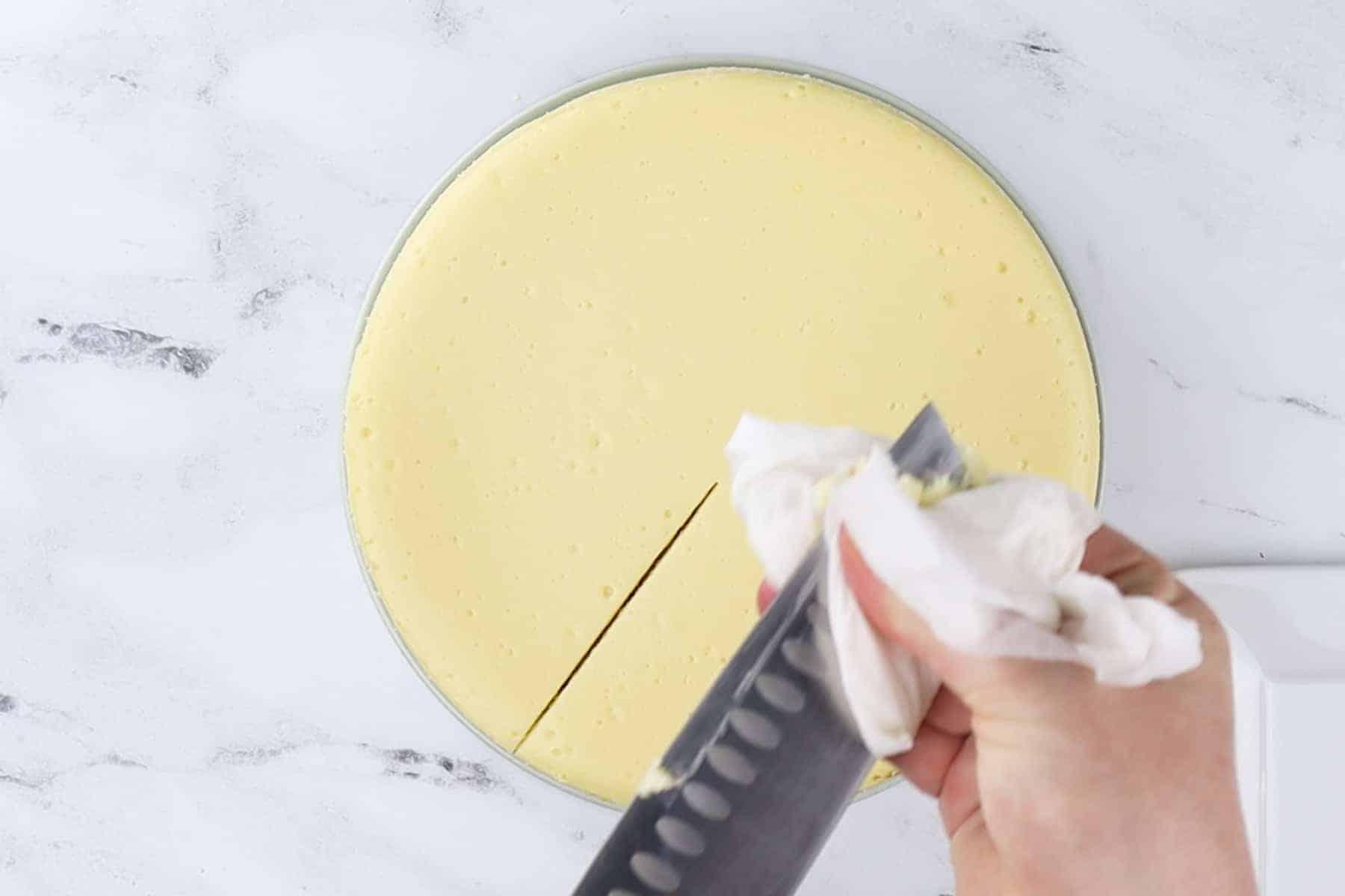 Clean knife after each cut