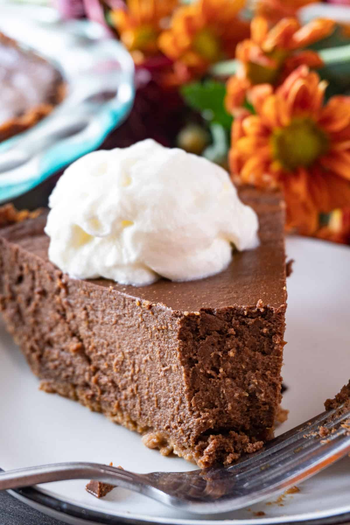 chocolate pumpkin pie with a bite take out