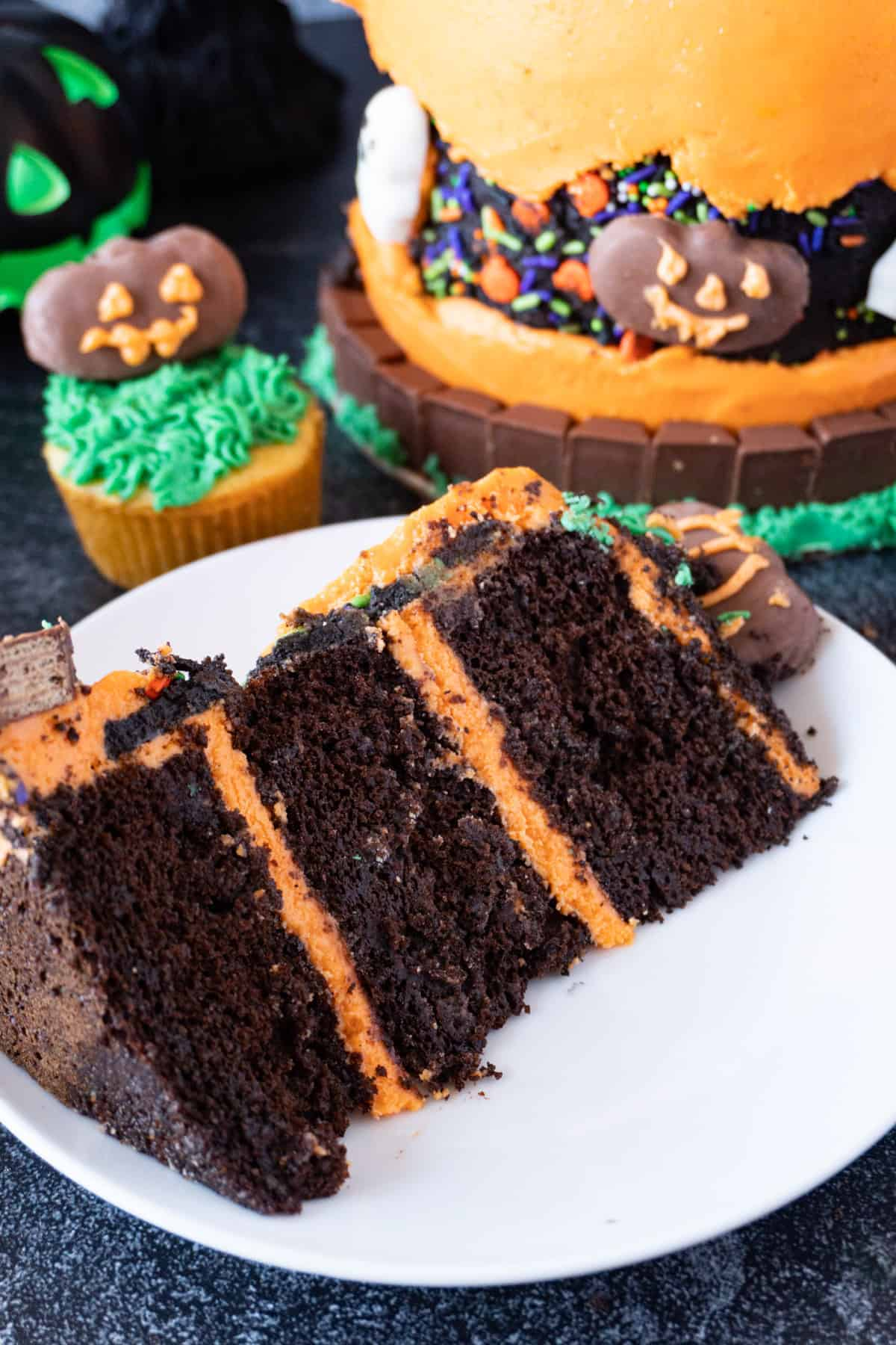 slice of halloween cake