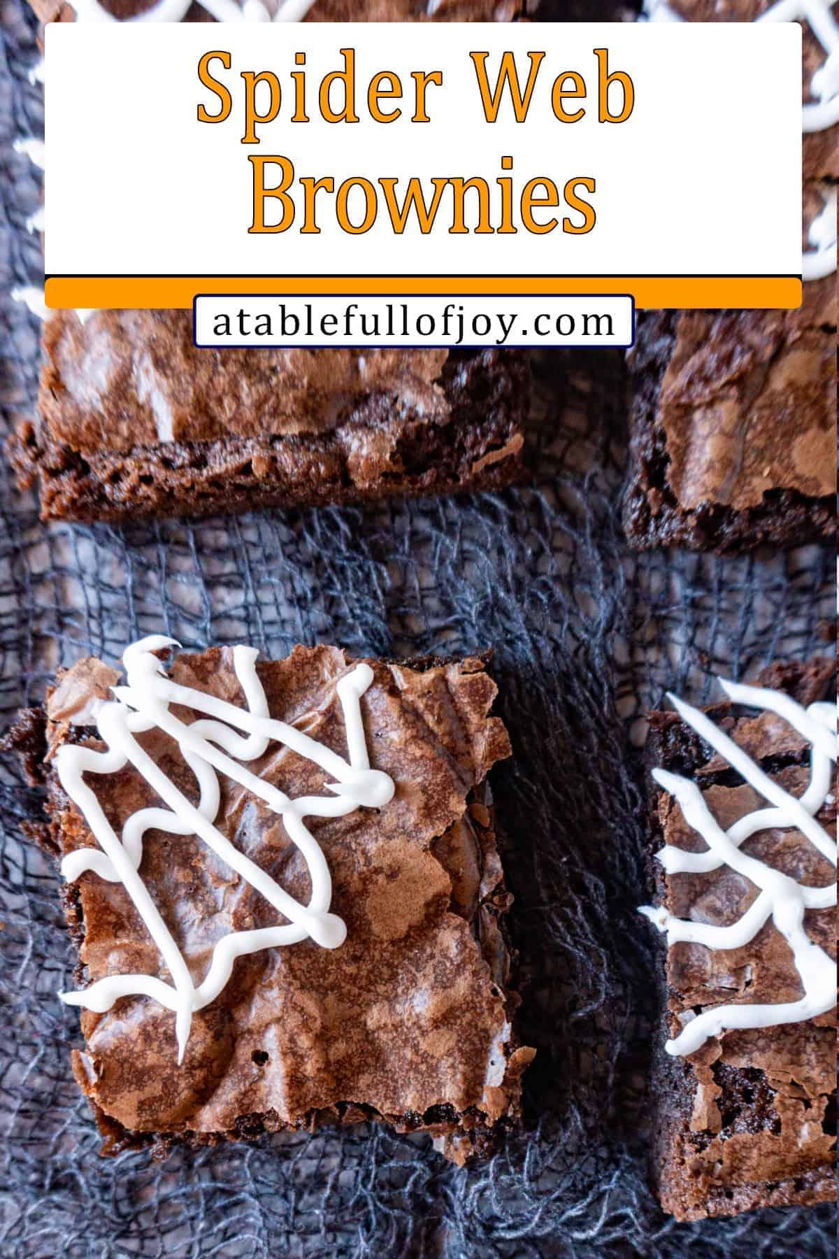 Spider Web Brownies pinterest pin