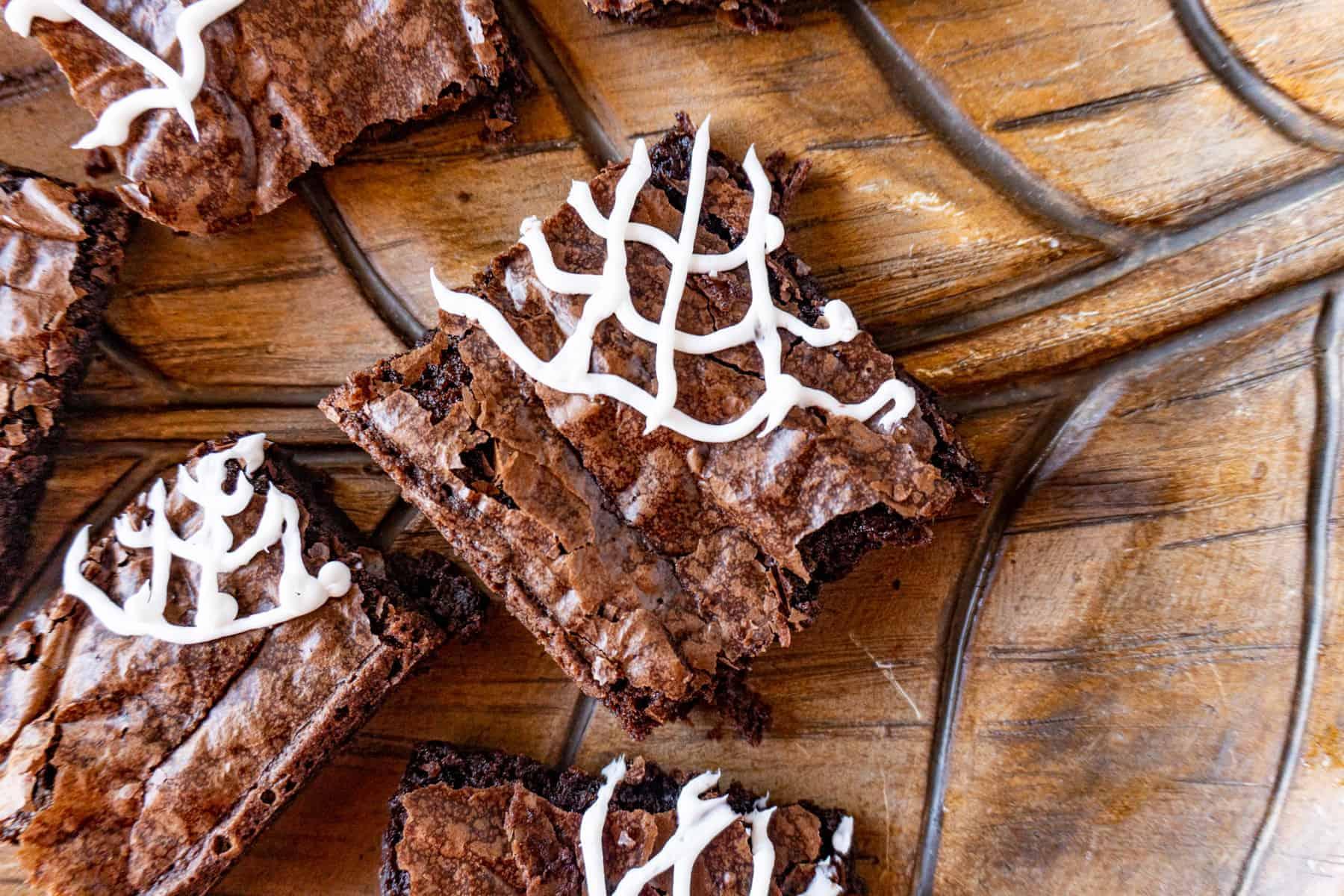 spider web brownie on platter