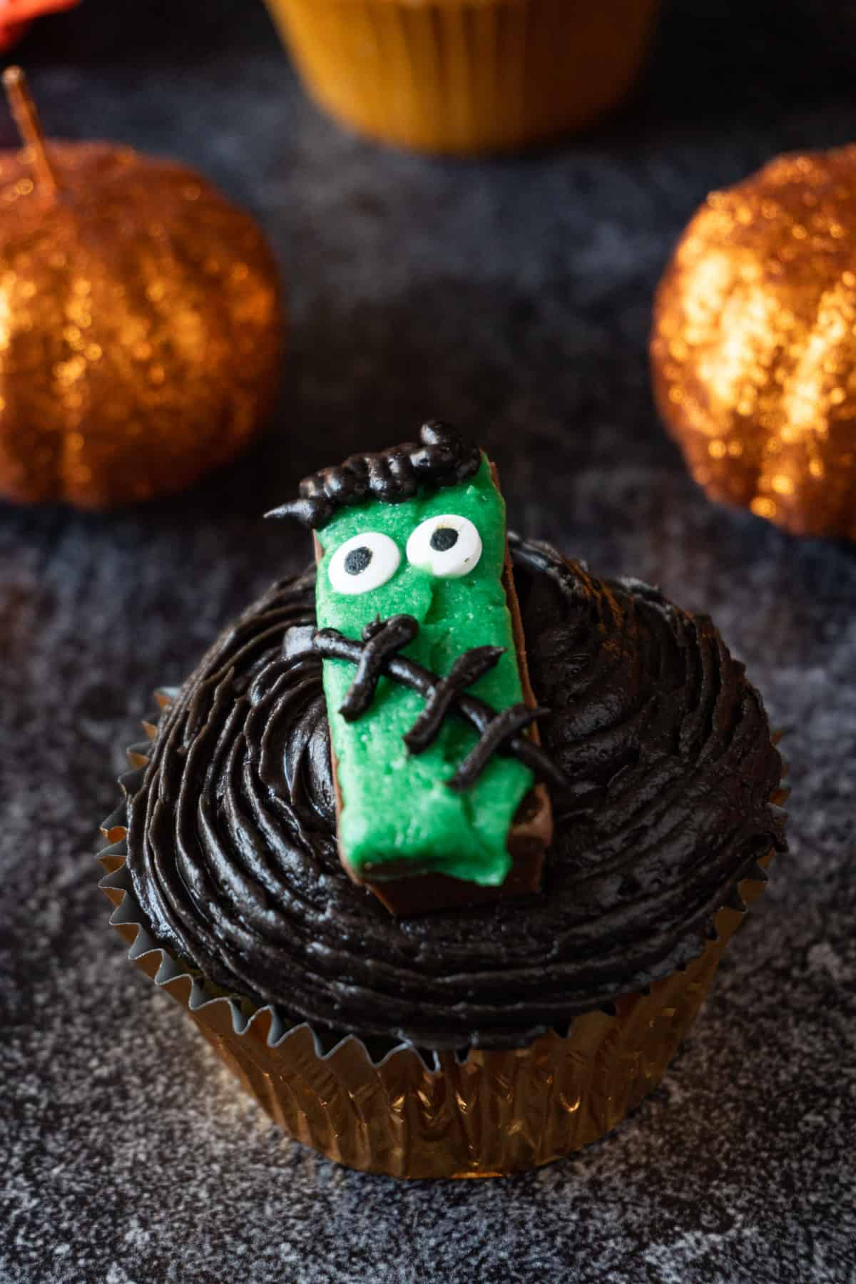 frankenstein cupcake close up