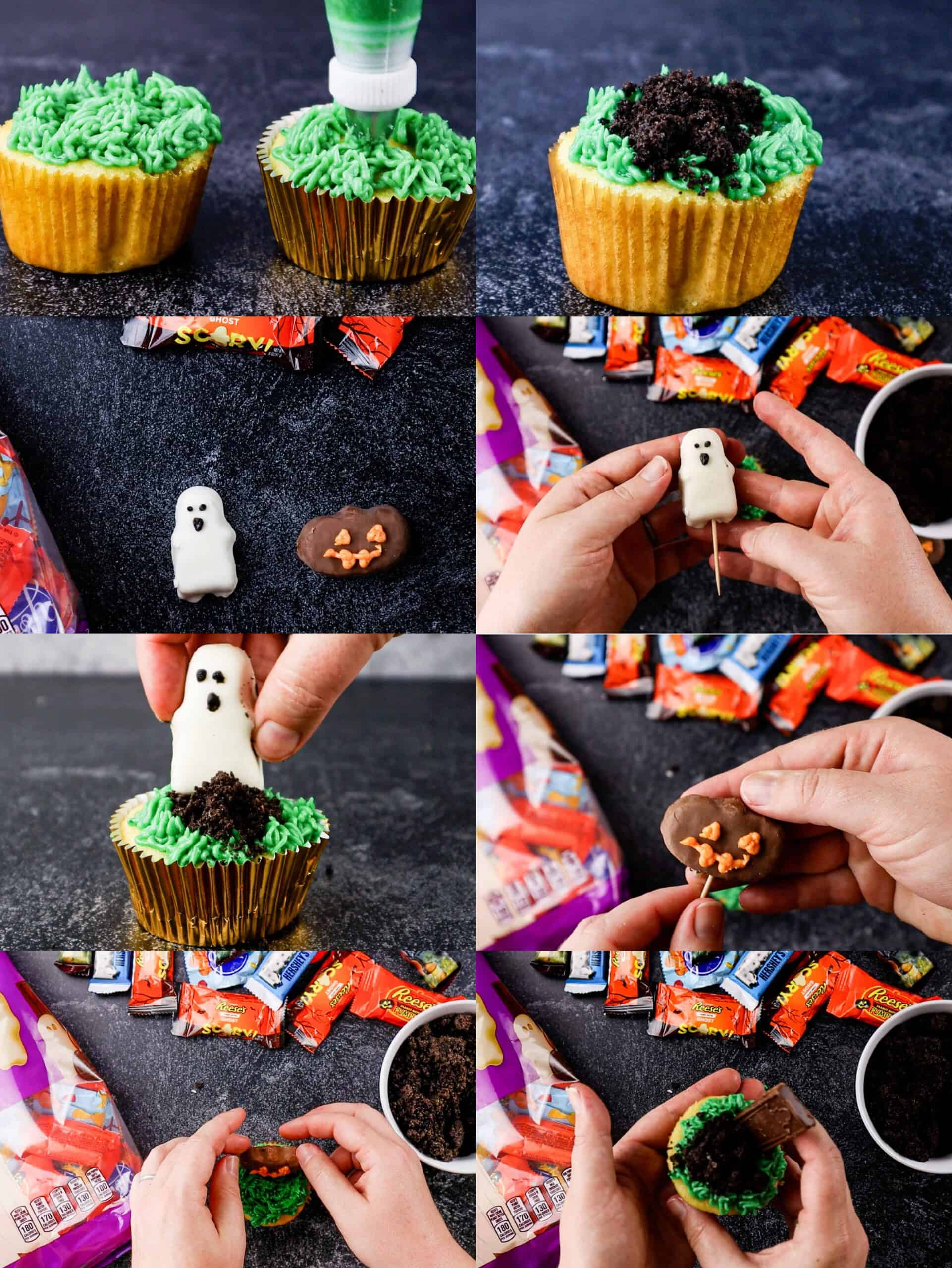 how to decorate ghost and pumpkin cupcakes process shots