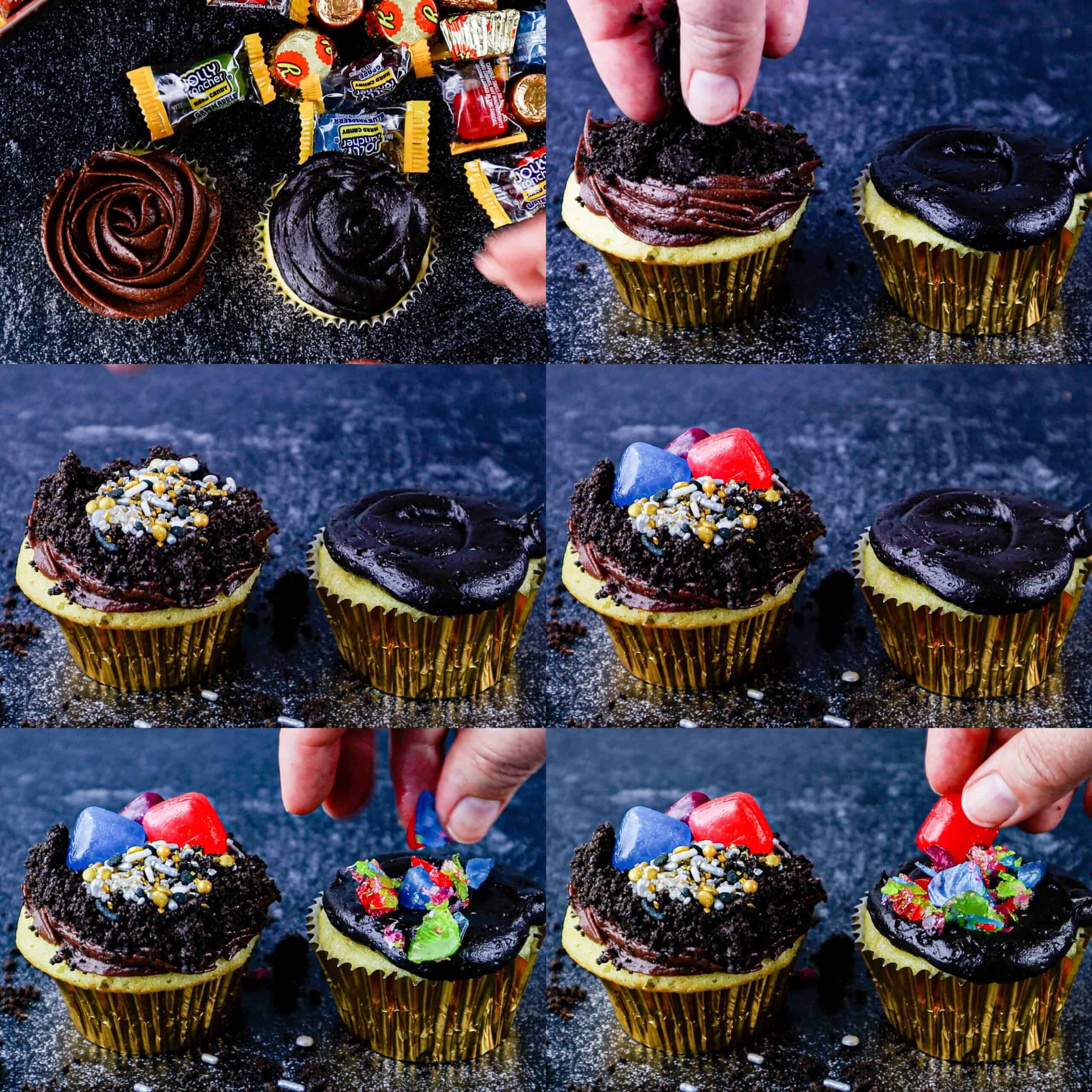 how to decorate treasure cupcakes process shots