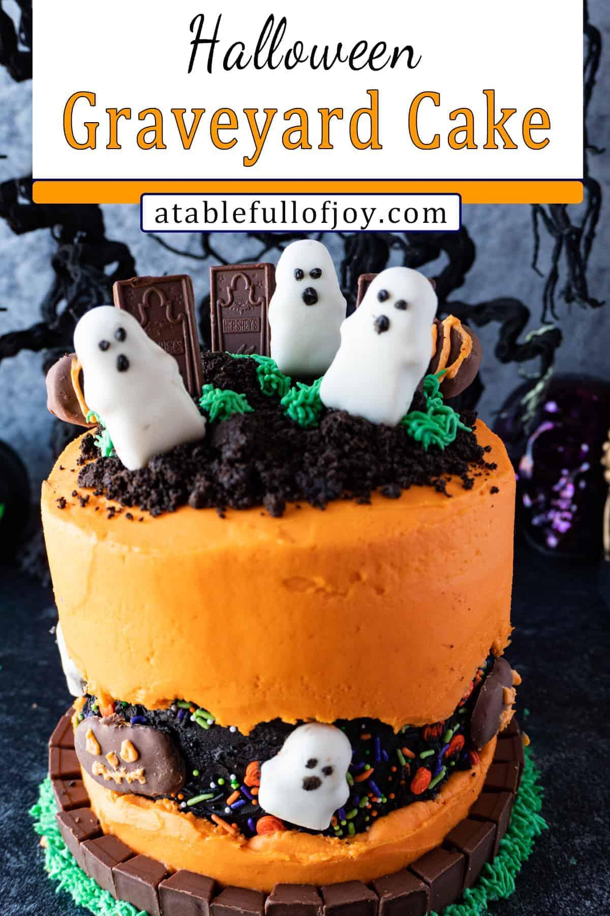 halloween graveyard cake pin