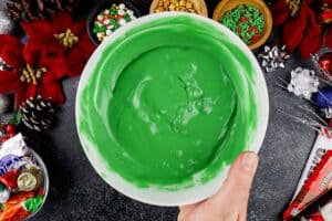 green candy melts in bowl