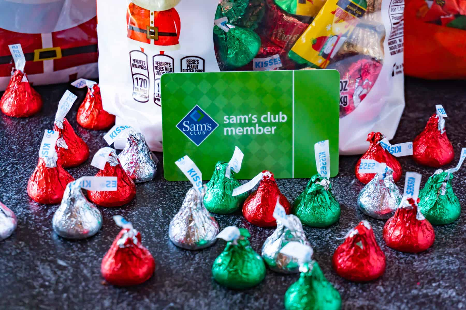 sam's club member card with chrismtas candy kisses around it